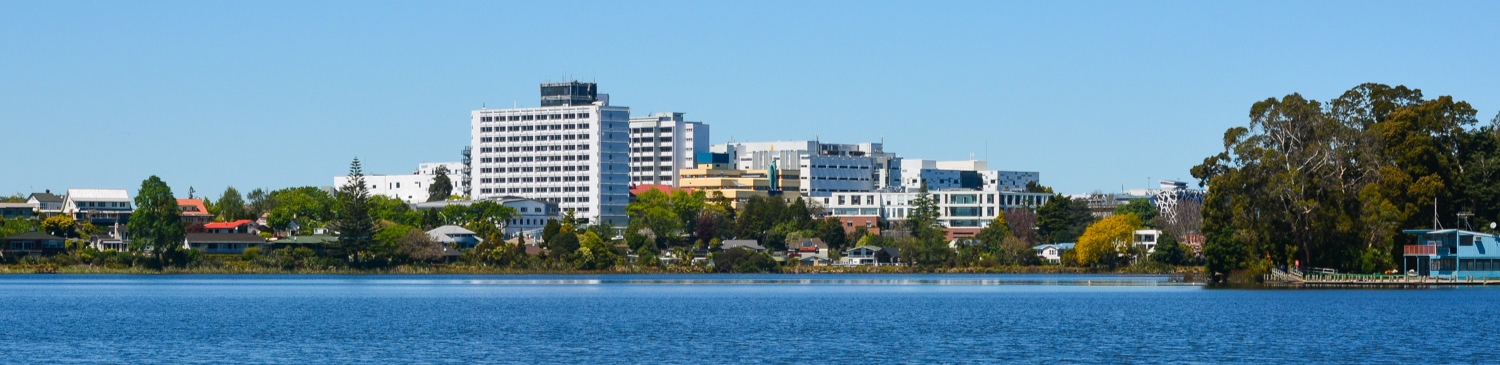 Waikato Hospital as seen over lake Rotoroa